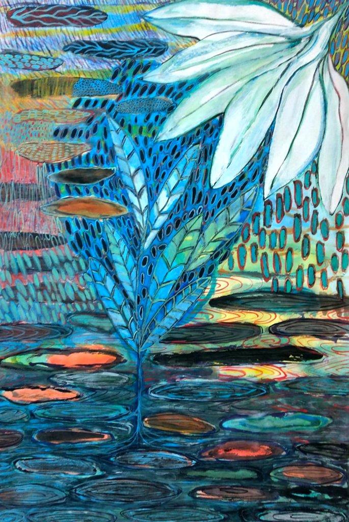 """""""Synapsis"""", Gouache auf Papier, 180 x 130 cm, 2021"""